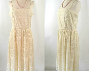 1970s Ivory Lace Overlay Spaghetti Strap Sundress, Alternative Wedding Gown