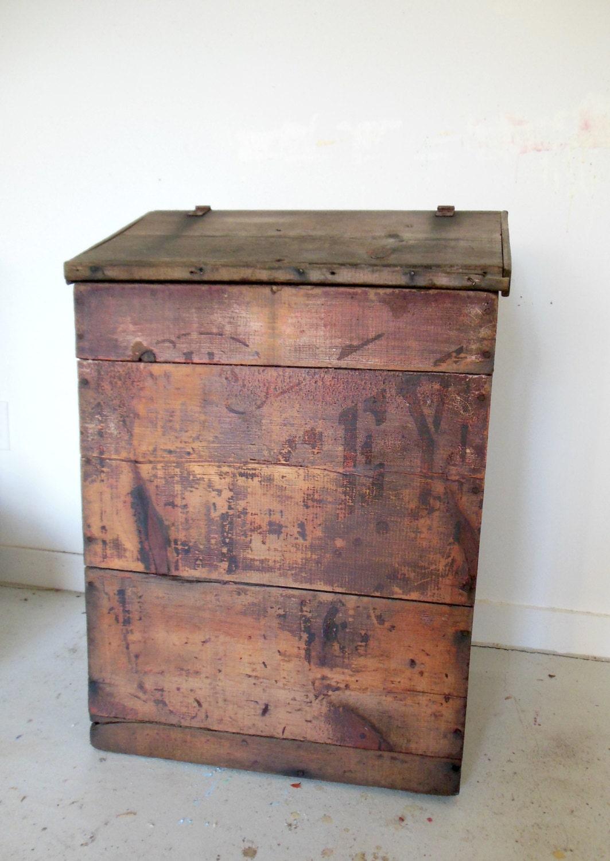 Rustikale Möbel Antik Holzmaserung Bin Jersey Kaffee