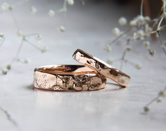 Textured wedding bands, gold wedding ring, unique wedding ring, modern wedding band, wedding band set, rustic wedding ring