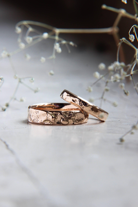 Textured wedding bands gold wedding ring unique wedding ring