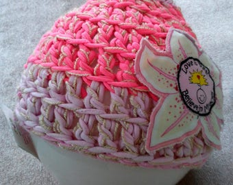 Unique Crocheted Hat with Star Lily~Star Lily Hat~Crocheted Hat~Pink Hat~