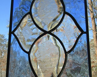 Stained Glass, Panel, Sun Catcher - Beveled Glass -  Hand Crafted - Sapphire Blue