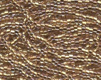 ON SALE 8/0 Crystal Bronze Lined AB Genuine Czech Glass Preciosa Rocaille Seed Beads 37 grams
