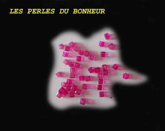 Lot de 20 perles carrée rose