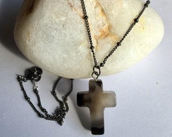 Grey agate cross pendant