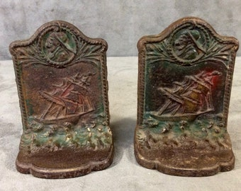 Ship and Mariner Nautical Bookends