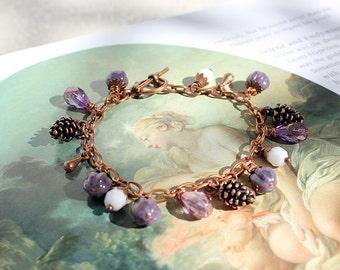 Fairy tale Charm Bracelet, SELENE or FAERIE GLADE, Purple Botanical Beaded Jewelry, Free Aust Shipping