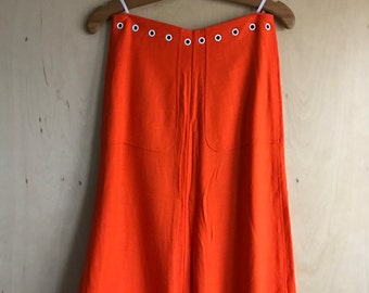 60's/70's Courreges Orange Rayon Skirt