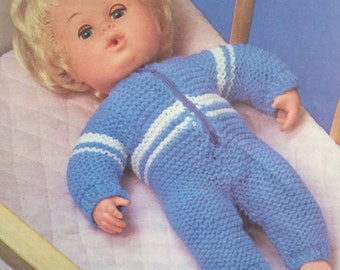 Dolls Clothes a sleeping suit  (Baby size)  Knitting Pattern