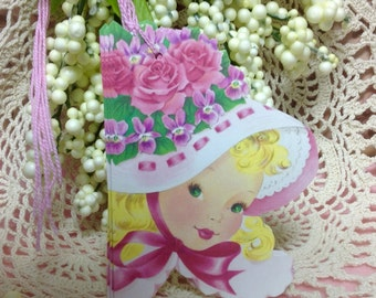 Set of Cottage Style Gift Tags, Shabby Style Girl with Pink Roses,