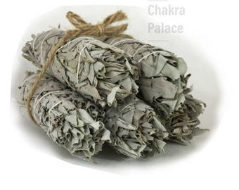 Set of 5 White California Sage Smudge Sticks - 4 inches each/Extra Thick - Purify and cleanse your space - Extra Dry & Tightly Packed