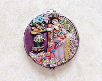Beautiful High Quality Japanese Geisha Compact Mirror Wedding Gift