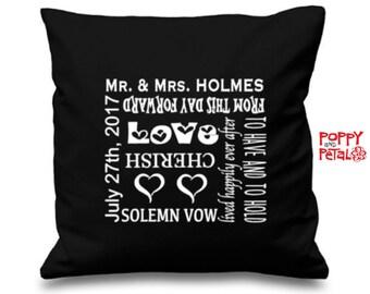 Personalized Wedding Gift, Custom Wedding Pillow Cushion, Anniversary Gift, Mr & Mrs Pillow, Cushion Cover Ring Bearer Pillow,