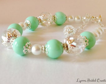 Mint Green Pearl Bracelet Crystal Bracelet Mint Green Jewelry Bridesmaid Gift Green Wedding Jewelry Wedding Set Rainbow Crystal Bracelet
