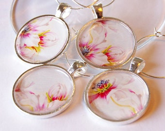 Flower Wine Charms, Flower charms, Wine Glass Charms, Wine Charms, silver plated, pink, barware, entertaining, table setting (2006)