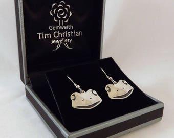 Clearance - Frog Drop Earrings, Silver Wildlife Earrings, Nature Jewellery, Animal Jewellery, Silver Handmade Frog Earrings, Frog Jewellery