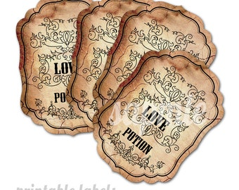Love Potion - 9 Printable labels per A3 sheet - downloadable