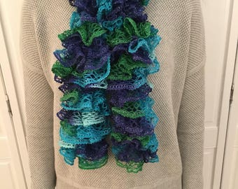 Blue and Green Ruffle Scarf