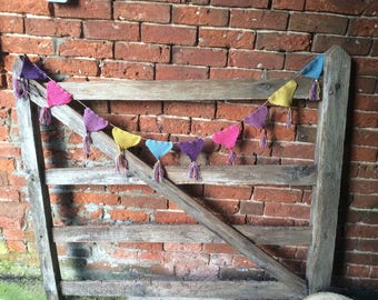 Hand knitted bunting, bunting with tassels, bunting, party bunting, rustic bunting, Mother's Day, Easter