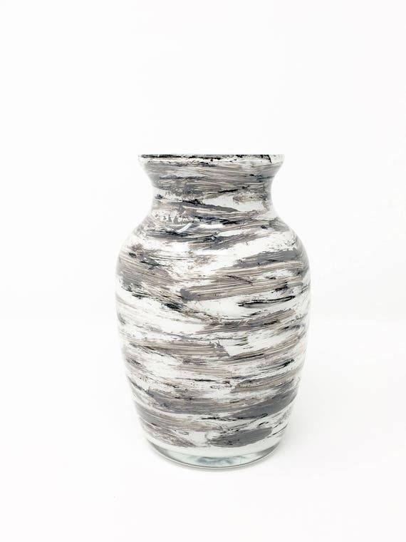glass art acrylic painting black white and grey vase