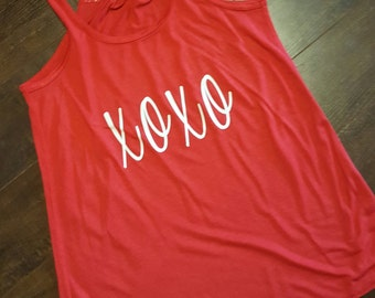 XOXO Valentines Day flowy bella tank.  Hugs and kisses!