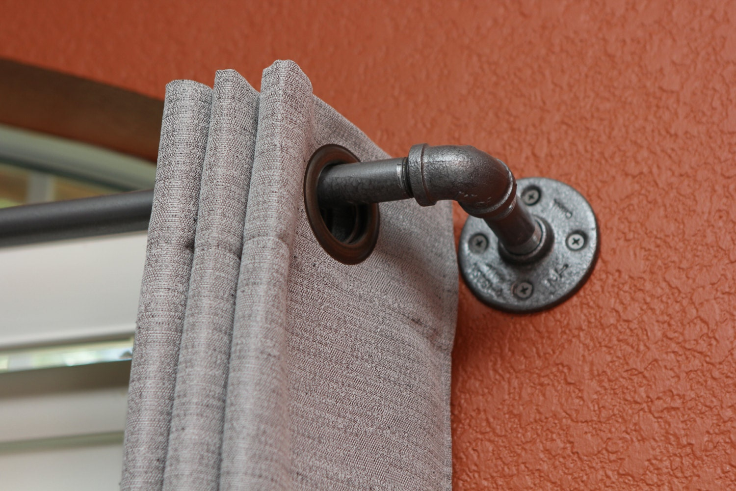 Industrial Curtain Rods Long industrial chic pipe curtain