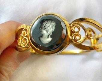 Cameo Bangle Bracelet Intaglio Glass Cabochon Scrollwork