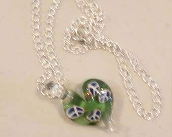 Peace Sign. Handmade lampworked glass heart pendant on silver link chain