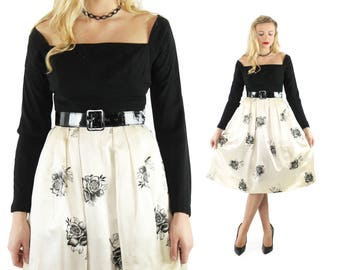 1960s Party Dress Long Sleeves Black White Floral Satin Mr. Mort Pleated Skirt Vintage 1960s Medium M Pinup Rockabilly