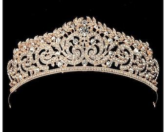 GOLD CRYSTAL CROWN bridal crown princess crown