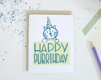 Happy Birthday Cat Greeting Card, Unique Birthday Cards, Funny Cat Puns, Lino Cut Card, Block Printed Card