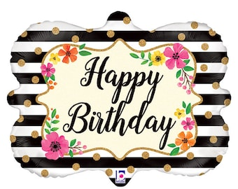 Floral Frame Happy birthday Balloon 30""