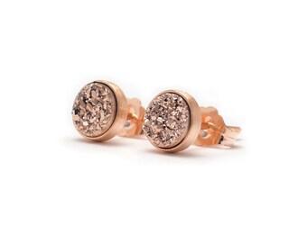 Rose Gold in Rose Gold Stud Earrings - Druzy / Drusy Quartz Studs - 24k Rose Gold Vermeil Stud Earrings - Round 6mm - Bezel Set