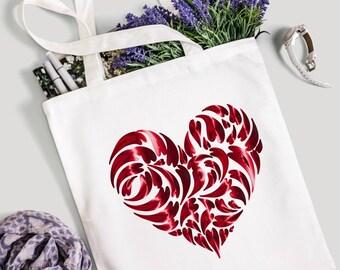 Heart tote bag, tote bag, canvas tote bag, market bag, gym bag, shopping bag, gift for her, gift for friend, bag uk