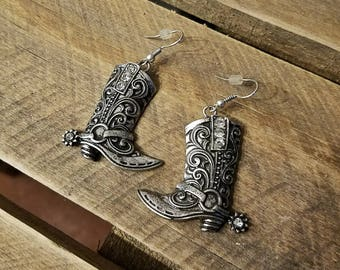 Fancy Western Rhinestone Cowboy Boot  Earrings, Southwestern Cowgirl Jewelry
