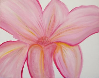 "original 16""x20"" Oil painting on Canvas , Pink Flower , Floral"