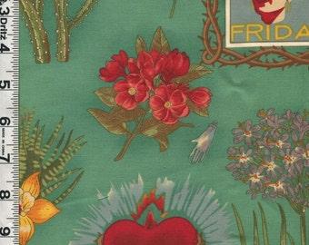 Fabric Henry VIVA FRIDA hommage to Frida Kahlo Mexican Artist Sacred Heart Milagros Spanish words green RARE
