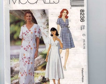 1990s Vintage Sewing Pattern McCalls 8236 Misses Dress in Two Lengths Size 10 12 14 Bust 32 34 36 1996 1990s UNCUT