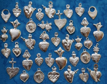 Hearts Milagros Charms Milagro Assorted Silver Tone Hearts Wholesale 25
