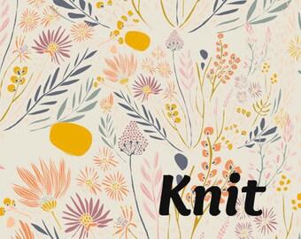 KNIT Wispy Daybreak in Aura - Leah Duncan for Art Gallery Fabrics - Desert Floral Wildflower Knit Fabric