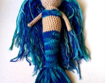 Crochet mermaid doll, blue mermaid, mermaid doll, knit mermaid, crocheted mermaid, ready to ship mermaid, mermaid toy, mermaid amigurumi