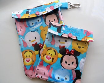 Tsum Tsum Disney Ouch Pouch 2 Pack 5x7 & 4x5 Clear Front Organizer Travel First Aid Diaper Bag Purse Backpack Inserts Mickey Fish Extender