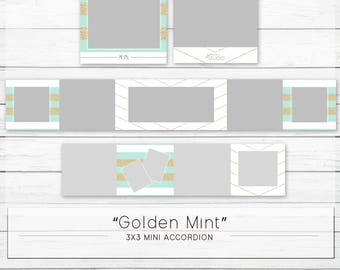 Golden Mint - Mini Accordion Digital Template WHCC