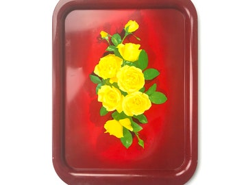 Vintage Red Metal Yellow Rose Floral Tray