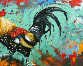 Rooster 897 24x48 inch original animal portrait oil painting by Roz