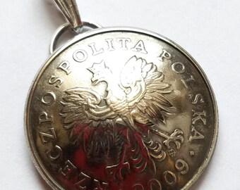 Unique Eagle Pendant, Polish Coin Jewelry, Authentic Polish Coin Pendant, Eagle Motif, Polish Heritage