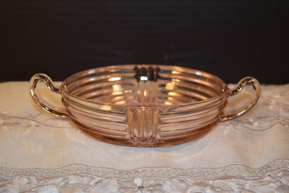 Anchor Hocking Manhattan Pink Depression Glass Bowl Vintage Ribbed 2 Handle Nappy Candy Dish Shabby Chic Servingware Holiday Pink Dish