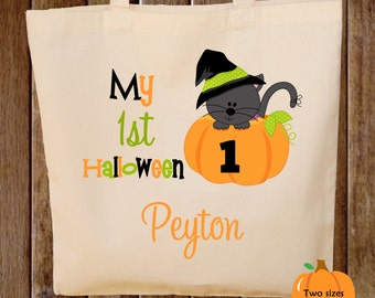 Trick or Treat Bag First Halloween Tote Bag Kitty Cat Halloween Trick or Treat Bag First Halloween