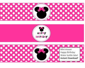 Water bottle labels. Minnie mouse pink water bottle labels. Minnie mouse printable water bottle labels,diy water bottle label, pink label