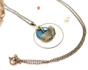 Teal Necklace / dark blue necklace / ginkgo leaf necklace / Japanese necklace / bronze necklace / zen necklace